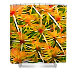 Cactus Pattern 2 Yellow Shower Curtain by Amy Vangsgard