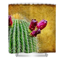 Cactus With Flowers Shower Curtain by Jeff Kolker