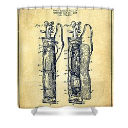 Caddy Bag Patent Drawing From 1905 - Vintage Shower Curtain