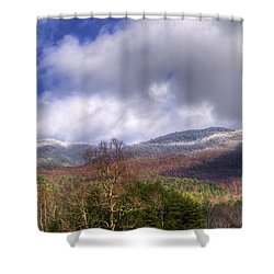 Cades Cove First Dusting Of Snow II Shower Curtain by Debra and Dave Vanderlaan