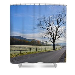 Tree On A Frosty Morn Shower Curtain