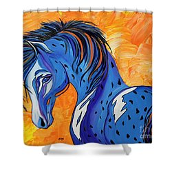 Shower Curtain featuring the painting Cadet The Blue Horse by Janice Rae Pariza