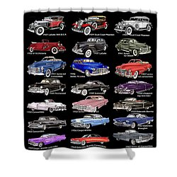 25 Cadillacs In A Poster  Shower Curtain