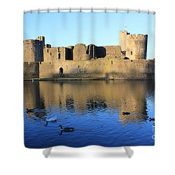Shower Curtain featuring the photograph Caerphilly Castle by Vicki Spindler