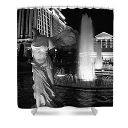 Caesars Fountain Bw Shower Curtain