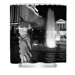 Caesars Fountain Bw Shower Curtain