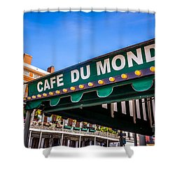 Cafe Du Monde Picture In New Orleans Louisiana Shower Curtain by Paul Velgos