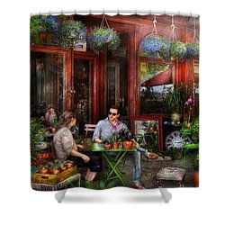 Cafe - Hoboken Nj - A Day Out  Shower Curtain by Mike Savad