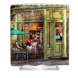 Cafe - Hoboken Nj - Empire Coffee And Tea Shower Curtain by Mike Savad
