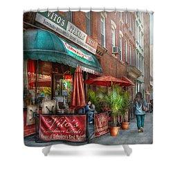 Cafe - Hoboken Nj - Vito's Italian Deli  Shower Curtain by Mike Savad