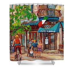 Cafe Olimpico-124 Rue St. Viateur-montreal Paintings-sports Bar-restaurant-montreal City Scenes Shower Curtain by Carole Spandau