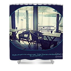 Shower Curtain featuring the photograph Cafe On The River by Leanne Seymour