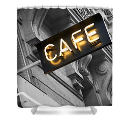 Cafe Sign Shower Curtain by Chevy Fleet