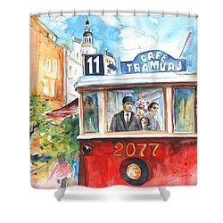Cafe Tramvaj In Prague Shower Curtain by Miki De Goodaboom