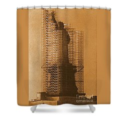 Shower Curtain featuring the photograph Lady Liberty Statue Of Liberty Caged Freedom by Michael Hoard