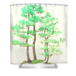 Caitlin Elm Bonsai Tree Shower Curtain