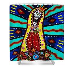 Calavera Virgen Shower Curtain by Pristine Cartera Turkus