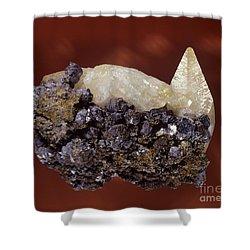 Calcite Crystal Shower Curtain by Hermann Eisenbeiss