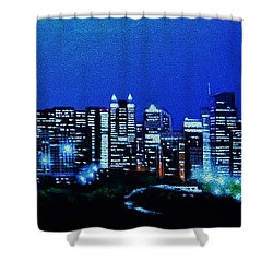 Calgary Canada In Black Light Shower Curtain