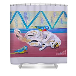 Calico And Friends Shower Curtain by Phyllis Kaltenbach