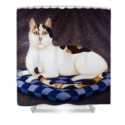 Calico Cat Portrait Shower Curtain by Linda Mears
