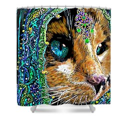 Calico Indian Bride Cats In Hats Shower Curtain by Michele Avanti