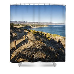 California Coastline From Point Dume Shower Curtain by Adam Romanowicz