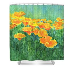 California Golden Poppies Field Bright Colorful Landscape Painting Flowers Floral K. Joann Russell Shower Curtain by Elizabeth Sawyer