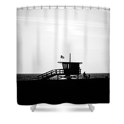California Lifeguard Stand In Black And White Shower Curtain by Paul Velgos