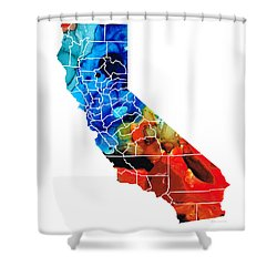 California - Map Counties By Sharon Cummings Shower Curtain by Sharon Cummings