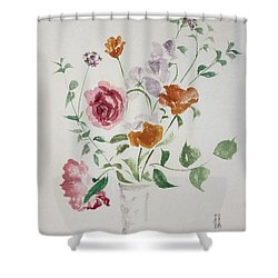 California Poppies And Roses In A Vase Shower Curtain by Asha Carolyn Young
