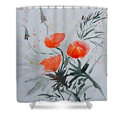 California Poppies Sumi-e Shower Curtain by Beverley Harper Tinsley
