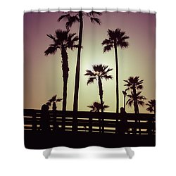 California Sunset Picture With Palm Trees Shower Curtain by Paul Velgos