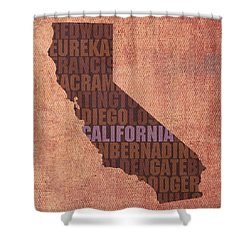California Word Art State Map On Canvas Shower Curtain
