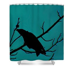 Call Of The Crow Silhouette On Blues 2 Shower Curtain by Lesa Fine