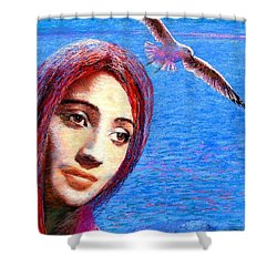 Call Of The Deep Shower Curtain by Jane Small