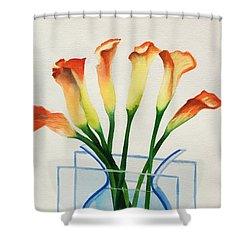 Shower Curtain featuring the painting Calla Lilies by Kathy Braud