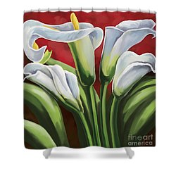 Shower Curtain featuring the painting Calla Lilies  by Tim Gilliland