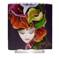 Shower Curtain featuring the painting Calla Lily Dame.. by Jolanta Anna Karolska