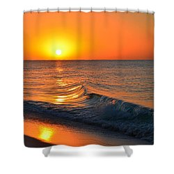 Calm And Clear Sunrise On Navarre Beach With Small Perfect Wave Shower Curtain by Jeff at JSJ Photography