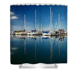 Calm Masts Shower Curtain