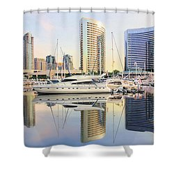 Shower Curtain featuring the painting Calm Summer Morning by Jane Girardot