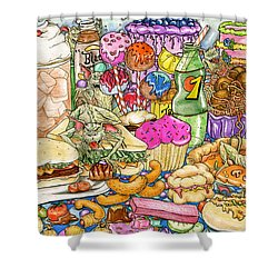 Calorie Gremlins Shower Curtain