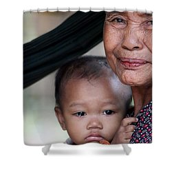 Cambodian Grandmother And Baby #3 Shower Curtain by Nola Lee Kelsey