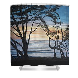 Cambria Cypress Trees At Sunset Shower Curtain