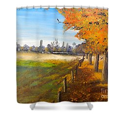 Shower Curtain featuring the painting Camden Farm by Pamela  Meredith
