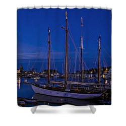 Camden Harbor Maine At 4am Shower Curtain by Marty Saccone