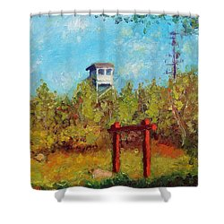 Camel Top Fire Tower Shower Curtain by Jason Williamson