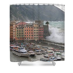Shower Curtain featuring the photograph Camogli Under A Storm by Antonio Scarpi