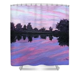 Shower Curtain featuring the painting Camp Sunset by Lynne Reichhart